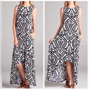 Dresses & Skirts - Damask Black Hi-Low Maxi Dress